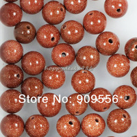 8mm 100pcs/lot Genuine Natural Gold Sand Stone  Round Loose Spacer Beads