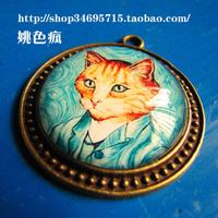 Royal vintage classic cat time gem necklace long design short design