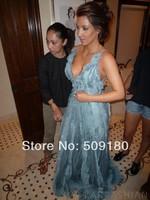 elegant high quality ice blue V neck spaghetti strap floor length custom made short celebrity dress design JO059 kim kardashian