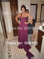 elegant high quality purple one shoulder floor length custom made short celebrity dress design JO058 kim kardashian dress