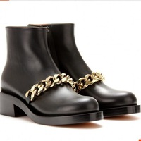 Free Shipping new 2014 G boots round flat metal chain handsome Martin boots women genuine leather shoes big size Christmas gift