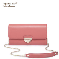 free shipping-2014  trend women's handbag genuine leather lockbutton chain bag day clutch bag