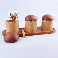 New arrival natural wood spice jar set glass sauce pot kitchen seasoning box log