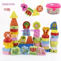 Children's building blocks early childhood educational toys, baby wear beaded animal fruit stringing beads