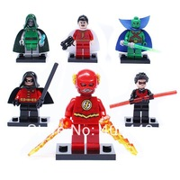 NEW 6PCS DECOOL Super Heroes Avengers  Martian MANHunter Flash Shazam Robin Night wing building blocks Children's toys 1036