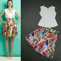 2013 t ruslana korshunova stamps print silk casual fashion short skirt ol set female