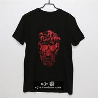 2014 spring and summer fashion street mcq skull abstract intergards T-shirt short-sleeve slim  clothing