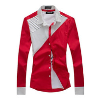 2014 spring shirt male long-sleeve slim polka dot shirt male long-sleeve shirt 11 d369-p30 red  free shipping
