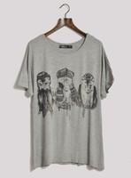 Gorilla animal print brief fashion mix match loose t-shirt women's plus size yj