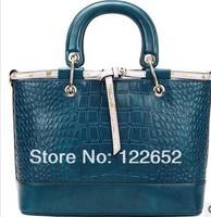 2014 fashional genuine leather handbag new stone embossed leather bag free shipping B-38