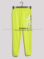 Fashion letter print neon color washed cotton push-up sports casual pants loose health pants trousers