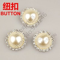 free shipping 10pcs/lot 30mm round ABS pearl crystal rhinestone button with one hole for coat bag curtain sandal costume sewing
