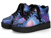 2014 Winter Women Creepers flat shoes Black Shoelace Galaxy PU Leather Platform Punk Rock Shoes