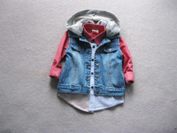 BT4014 Free shpping   Kids  denim casual  hooded waistcoat, denim vest