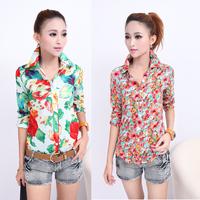 2014 summer vintage floral print shirt slim half sleeve shirt female