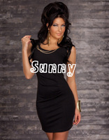 M XL XXL Plus Size  New Fashion Women Sexy O Neck Mini Bodycon Party Dress Casual Bandage Dress N082