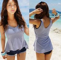 New Women Split Stripe 3 Piece Set Tankini Swimsuits M L XL High Quality Swimwear