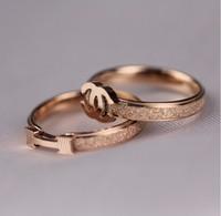 Hot Selling! Fashionable Star Same Style Dull Polish H Shape  Rose Gold Titanium Steel Rings for women,Girlfriend Gift