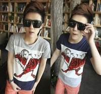 New in 2014 brand fashion Summer lovers cartoon tiger short-sleeve t-shirt  man woman freeshipping