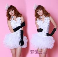 Puff skirt fashion ktv princess dress ds lead dancer clothing costume uniform Sexy Women Clothes two-piece Sets