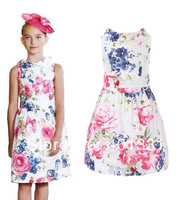 NEW Arrival 2014 Luxury brand girl dress, European and american style floral children dress, famous designer kids dress girl