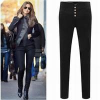 Size S-XXL New Spring/Autumn European Style Women Casual Elastic Cotton Trousers Pants Slim Black Bottom Pencil Pants LJ801