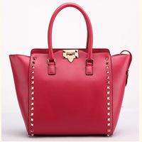 2014 new rockstud style women's genuine leather handbag cowhide cross-body rivet bag fashion handbag messenger bag bolsas