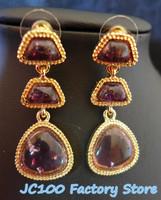 Free Shipping 2014 Newest Fashion Earrings for Women Isharya Three Stone Gold and Crystal light purple Teardrop earrings