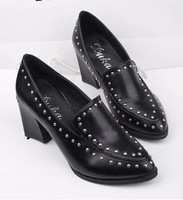 2014 spring fashion metal rivet vintage pointed toe thick heel high-heeled single shoes low female shoes size 35-39