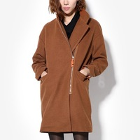 Women's winter long-sleeve woolen overcoat thermal outerwear