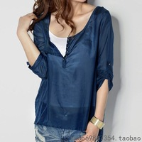Fashion summer silk cotton shirt t-shirt female