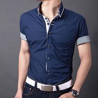 Free shipping 2014 summer hit color stitching Slim wild cotton long-sleeved shirt collar fashion men's short-sleeve shirt men