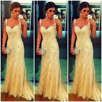 E0783 Elegant spagetti straps long gold lace prom dresses