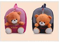 2 colors Removable bear New 2014 children school bag cartoon bag kids backpack