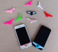 Free Shipping! 10pcs/lot Sexy Lady men Underwear underpant Thong Soft Silicone Home Button Case Cover For iPhone 5 4 4S