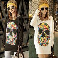 Wholesale novelty fashion Color skull loose bat sleeve women T-shirt