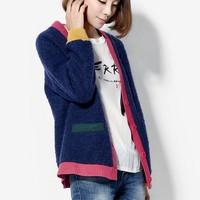 Vintage fashion woolen overcoat color block decoration outerwear