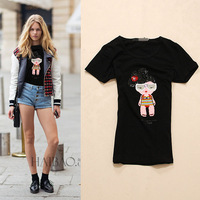 2014 cartoon doll handmade beading fashion short-sleeve cotton t shirt women 2colors S,M,L,XL Free shipping