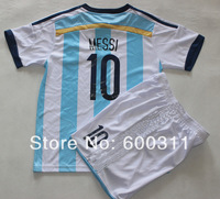 argentina 2014 word cup season 10# MESSI kids  short sleeve soccer jersey  children soccer jersey  free shipping