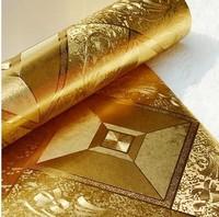 Gold Foil Metal Plaid Reflective KTV Wallpaper Roll Waterproof Living Room 10m Papel De Parede