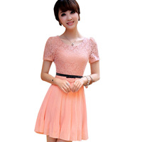 Hot New 2014 Ol Chiffon Lace Patchwork Dresses Fake Bow Waist Belt Short Sleeve Pleated Dress Lined Side Invisible Zipper WF-459