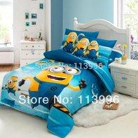 Despicable Me Cartoon Minions Blue Cotton Children Kids Bedding Set Twin Single Duvet quilt cover flat sheet set bed linen gift