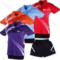 free shipping women New 2014 Butterfly sportswear Table Tennis/ badminton Polo Shirt+shorts