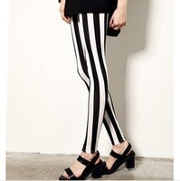 2014 take show thin woman personality the stylish black and white wide thin vertical stripes leggings