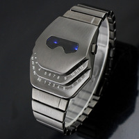 COOL Gadgets interesting amazing Snake Head Design creativ Blue LED men's Watches with Stainless Steel Strap free shipping