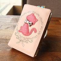 Sweet gentlewomen cartoon cat short design small wallet coin purse Free shipping