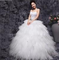 2014 new dress/ tube top feather dress/ formal dress/ rhinestone fluffy lace wedding dress