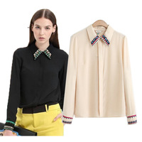 2014 spring fashion ol lily national trend shirt collar embroidery turn-down collar shirt women's top