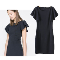 2014 women's one-piece dress ruffle sleeve short-sleeve dress fashion slim fashion short skirt women skirt