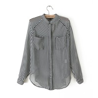 2014 double pocket fashion black and white vertical stripe long-sleeve shirt chiffon shirt women's